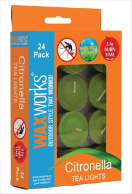 CITRONELLA TEA LIGHT CANDLES - 24 PACK  - WAXWORKS