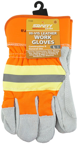 WORK GLOVE - HI-VIS LEATHER - LARGE