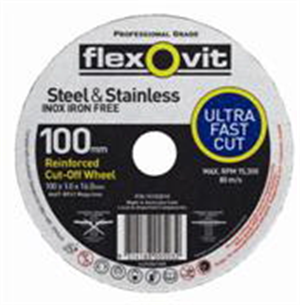CUT OFF WHEEL - ULTRA THIN -   100 x 1 x 16mm - STEEL & STAINLESS