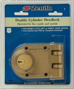 DOUBLE CYLINDER DEADLOCK - BRASS PLATED - ZENITH