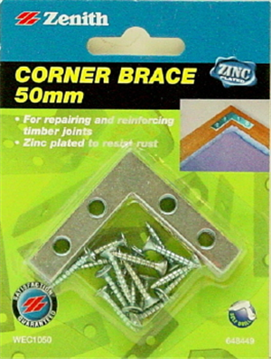 CORNER BRACE - FLAT - ZP STEEL - 50mm - 4 PACK