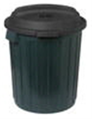 GARBAGE BIN - 60 Litre GREEN PLASTIC WITH LID - WILLOW