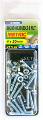 BOLTS & NUTS - M4 x 20mm - ZP - 22 PACK - ROUND HEAD