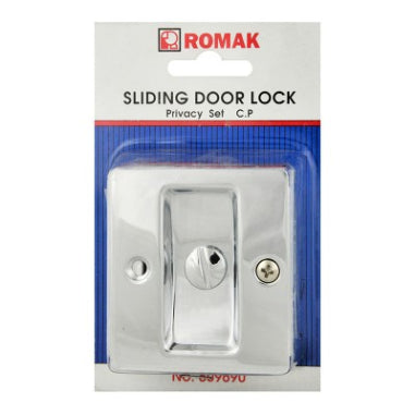 SLIDING DOOR LOCK - PASSAGE SET -  CHROME -  ROMAK