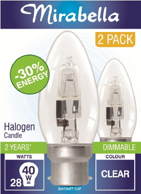 GLOBE -  HALOGEN - CANDLE - 28 Watt - BC - CLEAR - 2 PACK