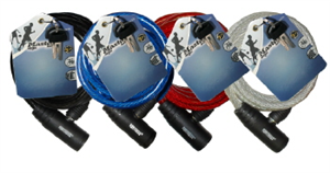 BIKE LOCK - WIRE ROPE - 8mm x 1.8m - ASSORTED COLOURS