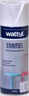 SPRAY PAINT - SATIN WHITE ENAMEL AEROSOL - 325G - WATTYL
