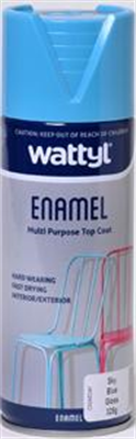 SPRAY PAINT - GLOSS SKY BLUE ENAMEL AEROSOL - 325G - WATTYL