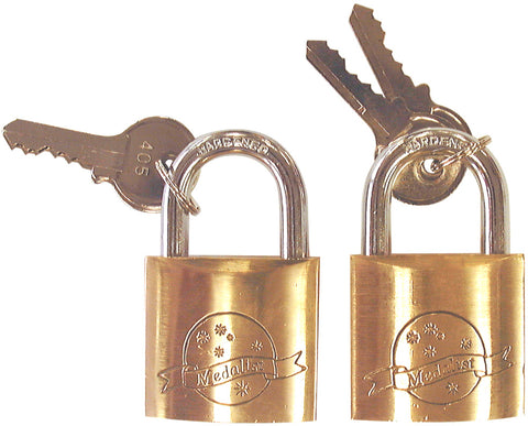 PADLOCKS - 2 PIECE KEYED ALIKE -  40MM - BRASS