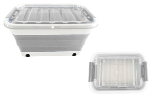 STORAGE TUB - POP UP  - 30 LITRE - GREY/WHITE - WITH WHEELS & LID