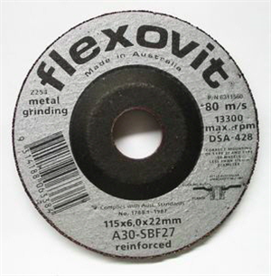 GRINDING WHEEL - METAL  -  115 x 6 x 22 -  Flexovit