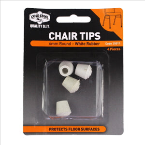 CHAIR TIPS - 6MM WHITE RUBBER - ROUND - 4 PACK