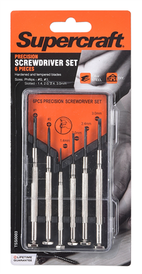 JEWELLERS PRECISION SCREWDRIVER SET - 6 PIECE - SUPERCRAFT - BOXED