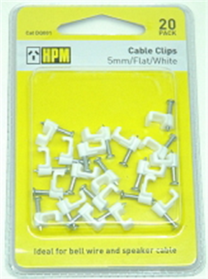CABLE CLIPS - WHITE - 13mm FLAT  - 20 PACK