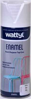 SPRAY PAINT - MATT WHITE ENAMEL AEROSOL - 325G - WATTYL