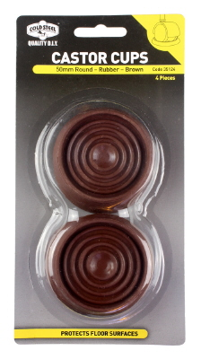CASTOR CUPS - ROUND BROWN RUBBER - 50mm - 4 PACK