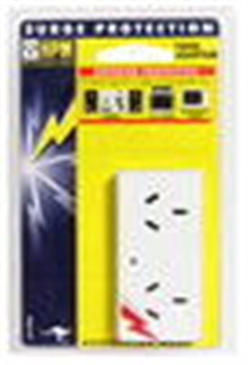 DOUBLE ADAPTOR - SURGE PROTECTED - FLAT - WHITE - 10amp