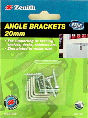 BRACKET ANGLE ZP 20mm Pk4