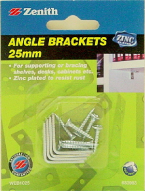 BRACKET ANGLE ZP 25mm Pk4