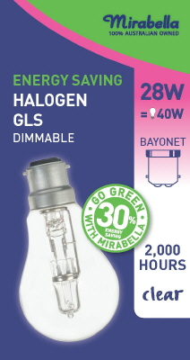 HALOGEN GLOBE - BC - 28 Watt - CLEAR - ENERGY SAVER