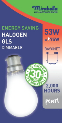HALOGEN GLOBE - BC - 53 Watt - PEARL - ENERGY SAVER