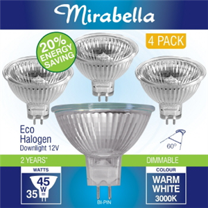 HALOGEN DOWNLIGHT -  12V -  35W - GU5.3 -  Pk4