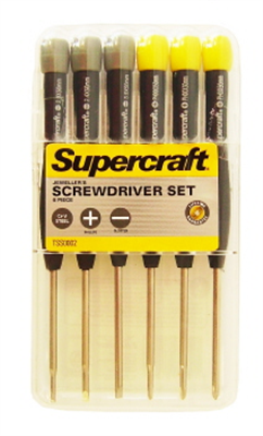 JEWELLERS SCREWDRIVER SET - 6 PIECE - SUPERCRAFT