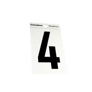 NUMERAL - No. 4 - SELF ADHESIVE - SILVER - 85mm