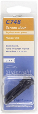 PIN PLUNGER - PLUNGER CLIP - FLYSCREEN - PLASTIC BLACK 4 PACK