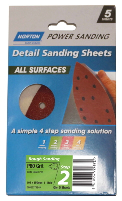 SANDING SHEET  POWER ALL SURFACES 103X150mmx11HOLE Pk5 Med P80
