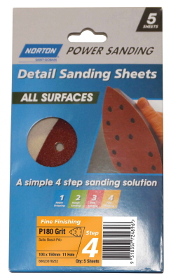 SANDING SHEET POWER ALL SURFACES103X150mmx11hole Pk5 V/FINE P180