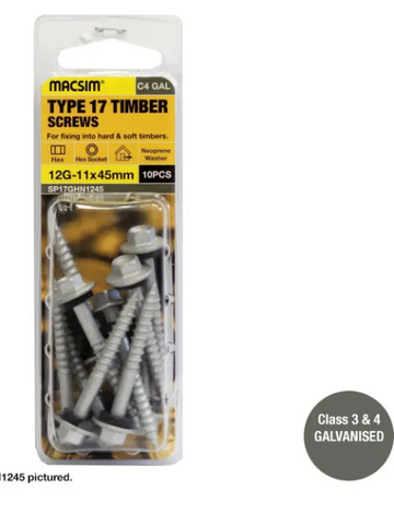 TYPE 17 ROOFING SCREWS - 10g-12x 25mm -  HEX HEAD - GAL WITH SEALING WASHER - PKT 15