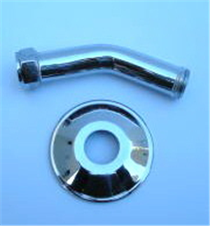 SHOWER ARM + WALL FLANGE CHROME PLATED 100mm 45 DEGREE