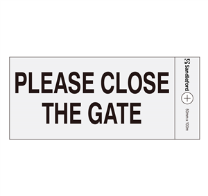 SIGN SELF ADHESIVE 100 x 50mm PLEASE CLOSE THE GATE