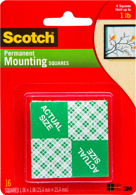 MOUNTING SQUARES -SCOTCH 3M - 4 PIECE