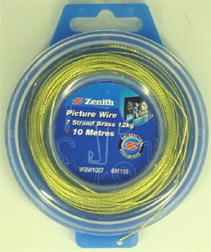 BRASS PICTURE HANGING WIRE -  7 STRAND - 10 METRES  (12KG)