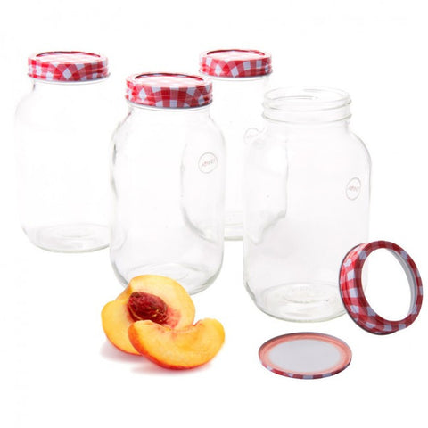 MASON JAR WITH RING & SEAL PRESERVING LID 4pc SET 1L  AVANTI