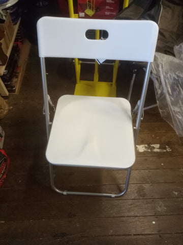 FOLDING CHAIR STEEL/PLASTIC WHITE