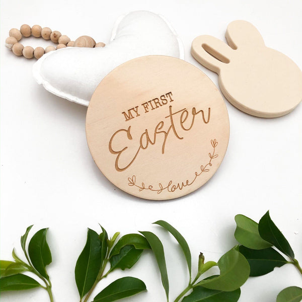 One Chew Three - Baby Milestone Plaques / My First Easter (Love Script)