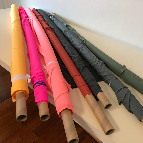 Rolls of fabric, different colours
