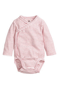 WRAPOVER BODYSUITS LIGHT GREY/RED STRIPES - PACK OF 3