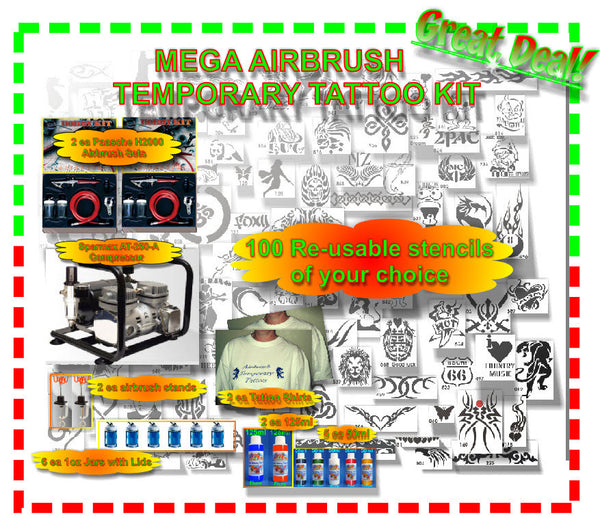 Mega Airbrush Temporary Tattoo Kit
