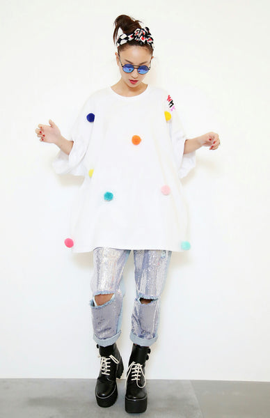 WhysocooL 3D Funny Ball Oversized Tee (White) - whysocool