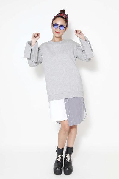 Sweatshirt dress with shirt hem - whysocool