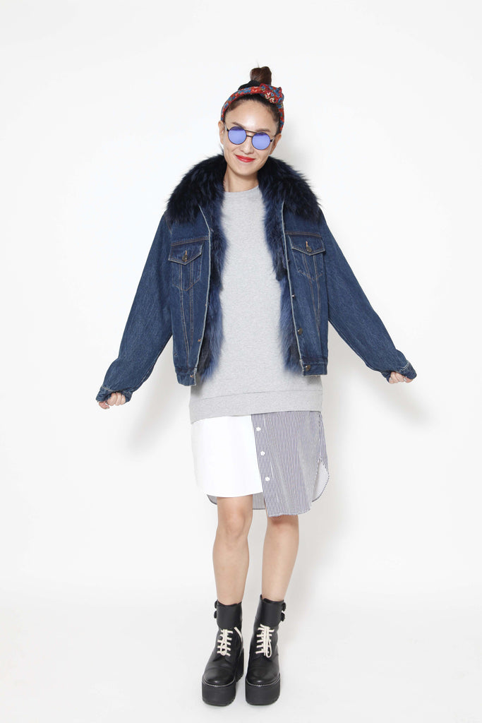 Boyfriend fit denim jkt with synthetic fibre lining (special item) - whysocool