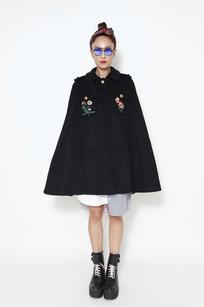 Black embroidered cape (special item) - whysocool