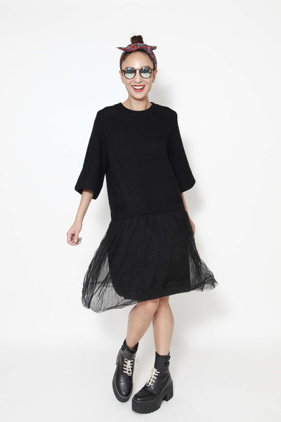 2-fer midi dress with knitted top - whysocool