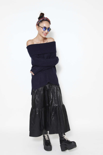 Black leather long skirt - whysocool