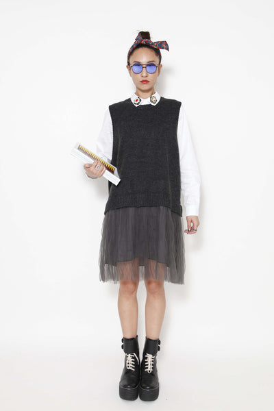 2-fer dress with knitted vest - whysocool