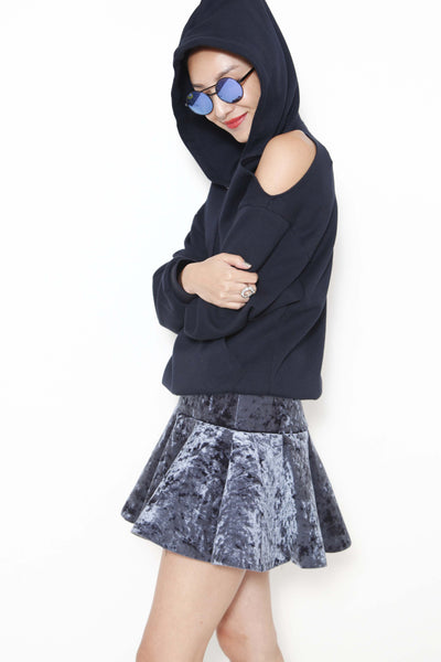 Black cold shoulder hoodie - whysocool
